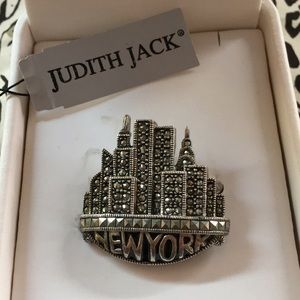 Judith Jack NYC New York Skyline Sterling Brooch